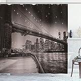ABAKUHAUS New York Duschvorhang, Brooklyn Bridge Nacht, mit 12 Ringe Set Wasserdicht Stielvoll Modern Farbfest & Schimmel Resistent, 175x200 cm, Dunkler Sepia Schwarz
