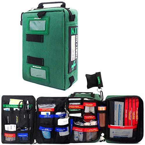 Lot de 255pcs d'urgence Sac de secours médical grande taille pratique Kit de premiers secours pour le lieu de travail à la maison, en plein air, en voiture, en voyage, randonnée, camping