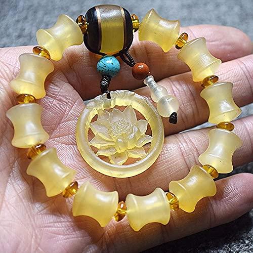 Pulsera Feng Shui Bead Feng shui riqueza prosperidad pulsera antílope cuerno bambú conjuntos conjuntos loto gourd hu lu wu lou colgante pulsera elástico brazalete amuleto atrayendo riqueza Pulsera de