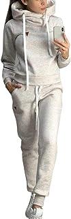 Loozykit, tuta da donna, in pile, con calda imbottitura e felpa con cappuccio + pantaloni lunghi, 2 pezzi, tuta da ginnast...