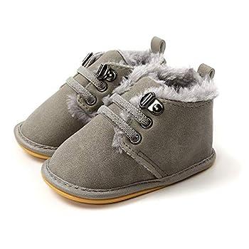 Baby Boys Girls Booties Fleece Anti-Slip Soft Sole Winter Boots Toddler First Walker Warm Crib Shoes Gray 12CM