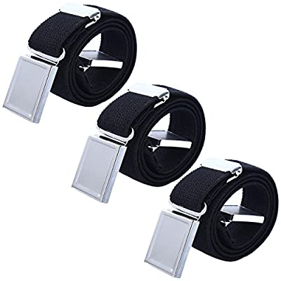 3 PCS Kids Adjustable Magnetic Belts - Easy to Use Magnetic Buckle Belt for Boys and Girls (3Pcs Black)