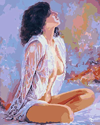 Pintar por kit de números Pijama mujer - DIY pintura al óleo Lienzo por números Niños pintura acrílica hogar Salón de la oficina pintura 40X50cm Sin marco ⭐