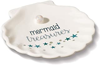 1pc Jewelry Holder Mermaid Treasures Trinket Dish Decorative Small 4'' Plate for Earrings Necklace with Pearl Shape Ring H...