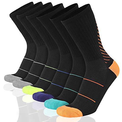 COOVAN - Calcetines deportivos para hombre (6 unidades), talla única alto, Negro 6