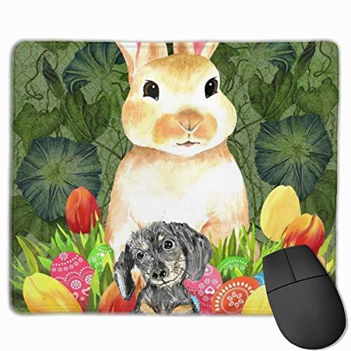 Osterhasen-Korb Rutschfeste Persönlichkeit Designs Gaming Mouse Pad Schwarzes Stoff Rechteck Mousepad Art Naturkautschuk Mausmatte mit genähten Kanten