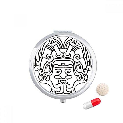 DIYthinker Egypte Figuur Vleugels Fresco Asymmetrische Travel Pocket Pill case Medicine Drug Storage Box Dispenser Spiegel Gift