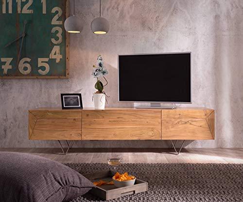 DELIFE Fernsehtisch Wyatt Akazie Natur 175 cm 1 Klappe 2 Türen Designer Lowboard
