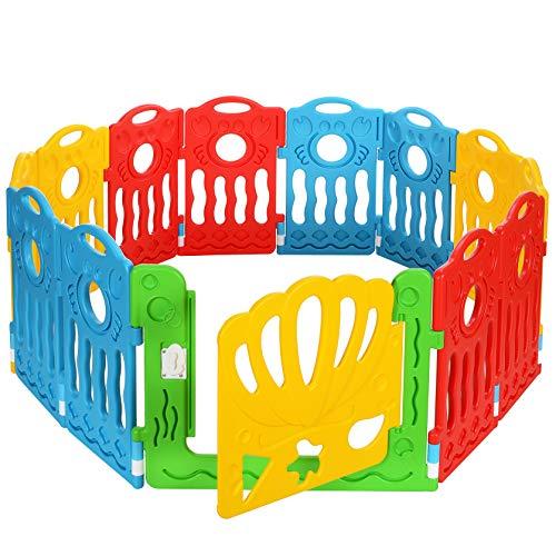 LCP Kids Boxi Laufgitter Baby Laufstall 12 Teilig, Erweiterbar, Blau Rot Gelb