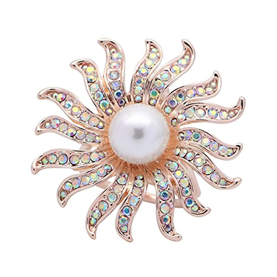 SHANLIHUA 3 Rings Rhinestone Metal Smooth Silk Scarf Ring Slides Scarves Clip Smooth Silver and Rose Gold
