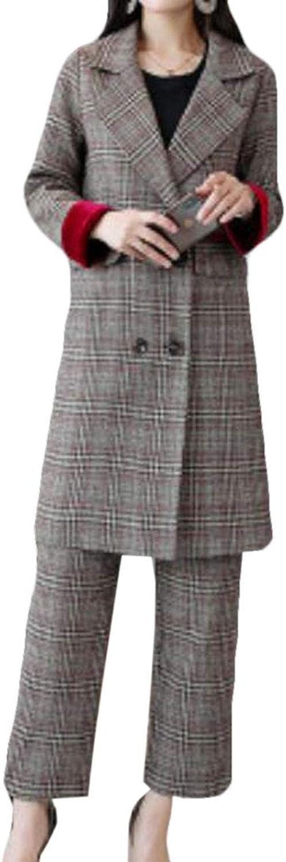BYWX Women Glen Plaid Tenths Pants Belted Blazer 2Piece Outfits Set