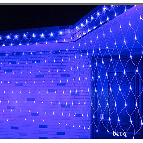 GFSDDS Luces De Navidad 8 Modos De Malla Led Luces De Cadena Decoración De Navidad Año Nuevo Vacaciones De Boda A Prueba De Agua, Azul, Enchufe De Ee. Uu. 110V, 4X6M 750Leds ⭐