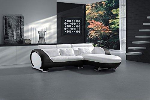 SAM Ecksofa Vigo Combi 1, weiß/schwarz, Couch aus Kunstleder, 242x181 cm rechts