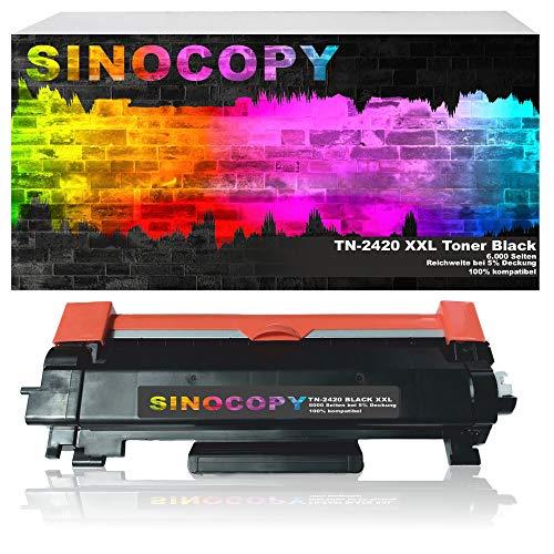 SinoCopy XXL Toner kompatibel MIT CHIP für Brother TN-2420 TN-2410 TN2420 HL-L2310D/2350DW/2357DW/2370DN/2375DW DCP-L2510D/2530DW DCP-L2537DW/2550DN MFC-L2710DN/2710DW/2730DW/2750DW- 6000 Seiten