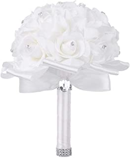 TRUE LOVE GIFT Wedding Bouquet, White Bouquet for Bride Bridesmaids with Diamond Soft Ribbons Artificial Rose Bridal Holding Flowers for Wedding, Party and Church