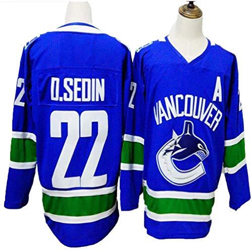 HZIH Sweatshirts Männer Eishockey Trikots atmungsaktiv T-Shirt D.Sedin # 22,L
