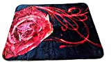 YSN Home Collection 2268- Wolldecke Decke Kuscheldecke Tagesdecke - Blumen Schwarz Rot Single 160 x 200 cm superweich