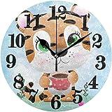 gardenia store Reloj de pared redondo con diseño de tigre para bebé y no hace tictac, funciona con pilas