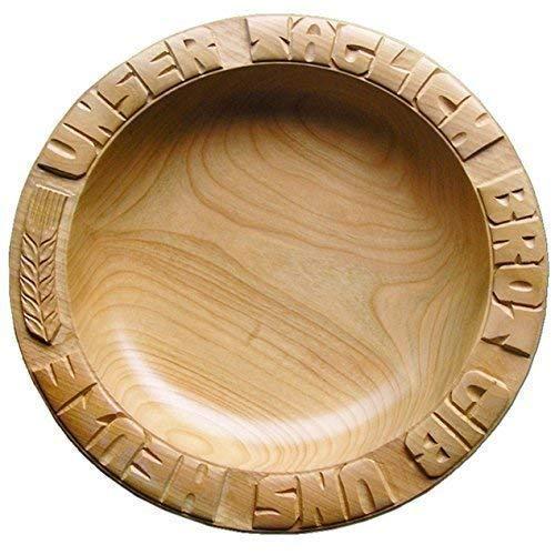 AHORN 28-30 cm Brotteller handgeschnitzt, mit eingeschnitztem UNSER TÄGLICH BROT GIB UNS HEUTE, Höhe ca. 4-4,5 cm, Holz Ahornholz Holzteller MADE IN GERMANY