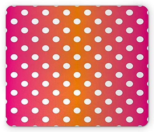 muismat, witte stippen op levendige gekleurde achtergrond Pop Art klassieke tegel kunstwerk, rechthoek muismat, roze oranje wit