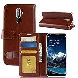 tinyue® Für Oukitel K5 Hülle, Ultradünne PU-Ledertasche Flip Wallet Cover, R64 strukturierte Business Style Ledertasche, Brown