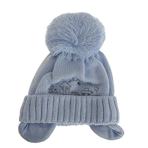 Baby Boys Winter Bommel Mütze (6-9 Monate) (Blau)