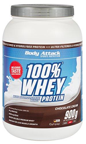 Body Attack 100% Whey Protein 900g, Eiweiß für den Muskelaufbau, aspartamfrei, glutenfrei, 4er Pack zum Sparpreis (Chocolate Cream, 4x 900g)