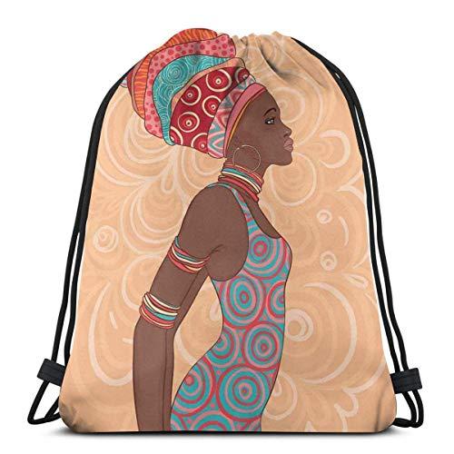 Odelia Palmer Mochilas Estampadas con cordón, Mujer Tribal étnica con Ropa nativa Savannah Trends Imagen artística de la Cultura Bohemia, Cierre de Cuerda Ajustable