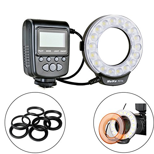Meike LED Macro Ring Flash Light for Canon Nikon Sony Olympus DSLR Camera with 7 Adapter Rings