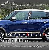 2 ADESIVI STICKERS MONTANTI PORTIERE COMPATIBILE PER FIAT 500 L AUTO TUNING (BIANCO L ROSSA)