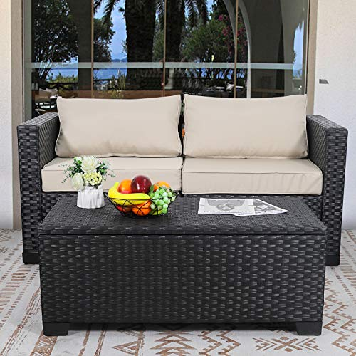 Rattaner Outdoor Table with Storage, Wicker Patio Coffee Table and Rattan Side Table with PP Board, Black