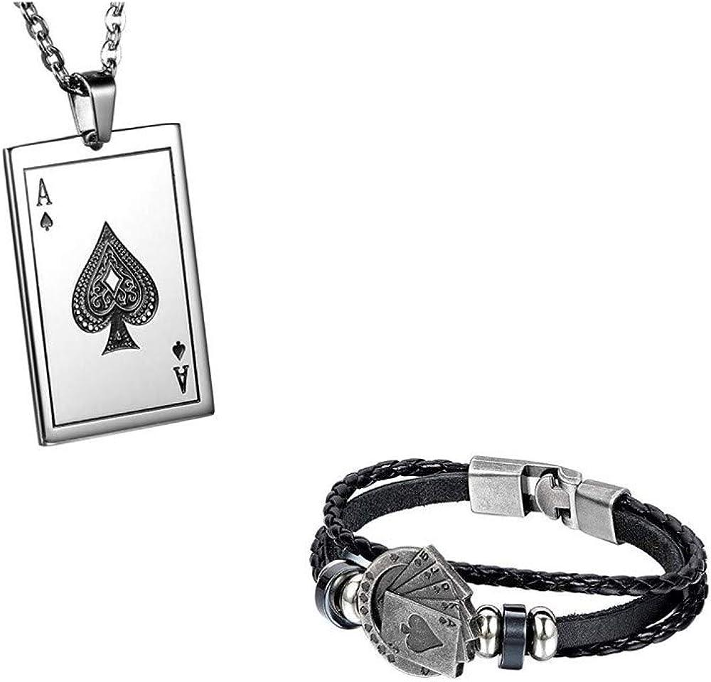 JewelryWe Colgante Collar de Mujeres de los Hombres, Colgante, Cadena Larga 55cm Disponible, Poker K, Acero Inoxidable, Plata (con Bolsa de Regalo)