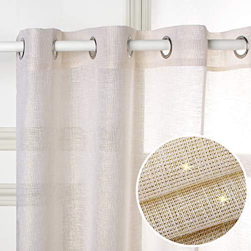 Viste tu hogar Cortina Visillo, Decorativa Translucida con Ojales, Estilo Simple y Elegante, para Salón, Habitación y Dormitorio, 1 Pieza, 150X260 CM, Hilo Dorado