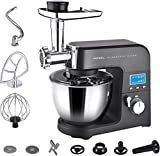 Aifeel Die-cast Aluminum Stand Mixer - 1500W 4 in 1 Multi Functional Kitchen Machine with 5.5L Food Grade Bowl, Food Grinder, with Some Accessories as Free Gifts - 8 Speed Settings and LCD Display