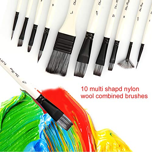 10pcs Paint Brushes Set Kit Multiple Mediums Brushes with Nylon Hair Carry Bag for Artist Acrylic Aquarelle Watercolor Gouache Oil Painting for Great Art Drawing Supplies