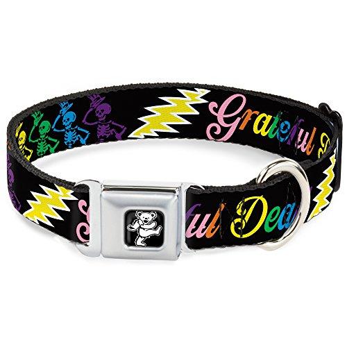 Buckle-Down DC-WGD005-L Seatbelt Dog Collar, Large, Grateful Dead Script w/Bears & Skeletons Black/Multi Color, 1' Wide - Fits 15-26' Neck - Large