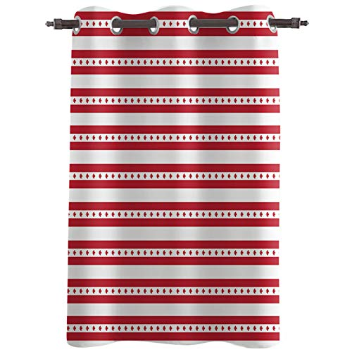 """Blackout Curtain Panels, Canada National Day Red and White Stripe Maple Leaves Thermal Insulated Solid Grommet Top Window Drapes for Living Room Bedroom,Single Panel, 52""""x24"""""""