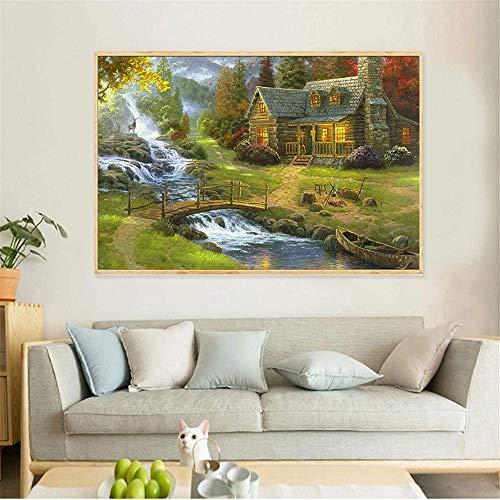 Póster Pintura al óleo abstracta Puente Posters e impresiones Catedral Mountain Lodge Paisaje Cuadros de pared para sala de estar Cuadro sin marco 40x60 (Sin marco)