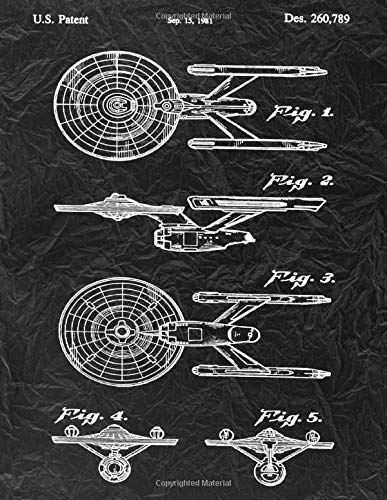 Star Trek Notebook: USS Enterprise Blueprint Journal Diary, 120 Dot Grid Pages, 8.5x11 Inches, Black Crumpled Paper Cover