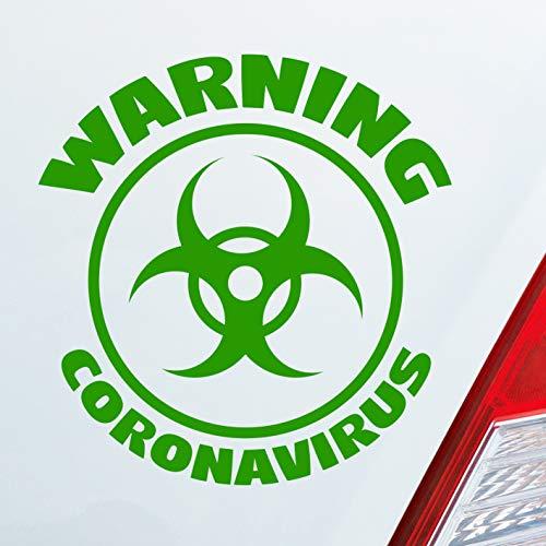 Auto Aufkleber Warning CORONAVIRUS Bio Hazard Krank Infiziert Husten Sticker Hellgrün