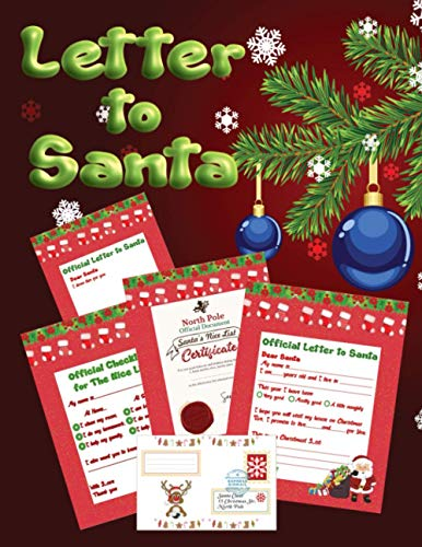 Letter To Santa: Write an Official Letter To Santa Claus | Christmas Letters, Wish Lists, Nice Lists, Envelopes, Stamps | a Great Gift and Fun Together With Your Children