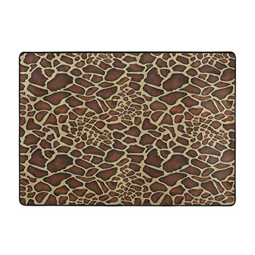 Alfombra rectangular Zambia, diseño de jirafa, diseño de piel de flora silvestre simbólico zoológico hippie, imagen artística, 4 x 5 pies súper suave alfombra decoración del hogar