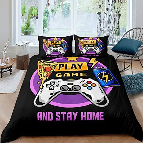 Feelyou Teens Bettwäsche-Set, Gamepad, Bettdeckenbezug, für Kinder, Jungen, Mädchen, junge Männer, Gamer, Bettbezug, atmungsaktiv, Videospiel-Tagesdecke, 3-teiliges Bettbezug, Queen-Size-Größe