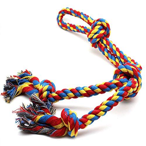 Forwindog XL Hundespielzeug für Starke große Hunde, Kauspielzeug mit 4 Knoten, Seil für Aggressive Kauen, interaktives Seil für große Hunderassen (66 cm, 4 Knoten)