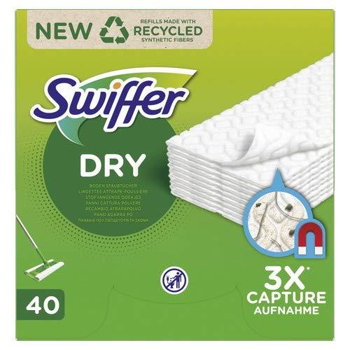 Swiffer Recharges Lingettes Sèches, 40 Lingettes Nettoyantes, pour Balai Swiffer, Attrape et Retient la Poussière