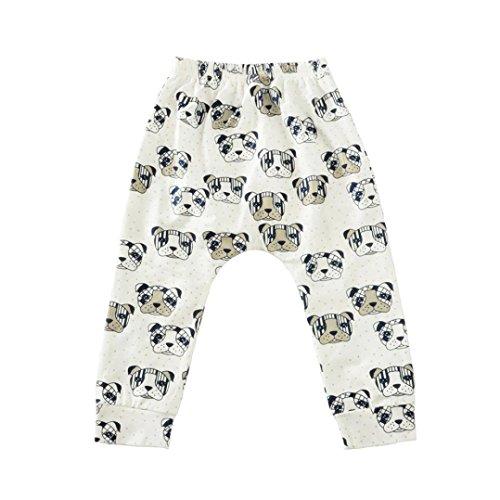 6-36 Mois Bebe Mixte Cotton Pantalon Elastique Kids Legging Pencil Pants (12, Blanc)