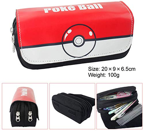 1 Pcs New Cute Cartoon Anime Red Elf Ball Canvas Pencilcase Zipper Waterproof PU Poke Ball Pencil Case Holder Stationery Box Cosmetic Pouch Storage Bag Office School Student Kid Birthday Gift