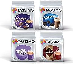 Tassimo Hot Choco Bundle Cápsulas - Cadbury, Oreo, Milka, Suchard - 4 Paquetes (40 Porciones)