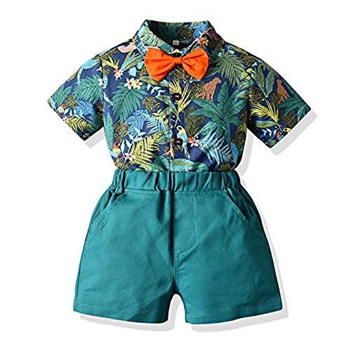 MAI Conjunto de 2 piezas de verano corto más bonito traje de vacaciones de la selva tropical de manga corta, camisa, pantalones cortos y pantalones para caballero, juego de ropa 0-5T