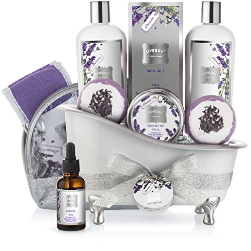 Bath Gift Basket Set for Women: Relaxing at Home Spa Kit Scented...